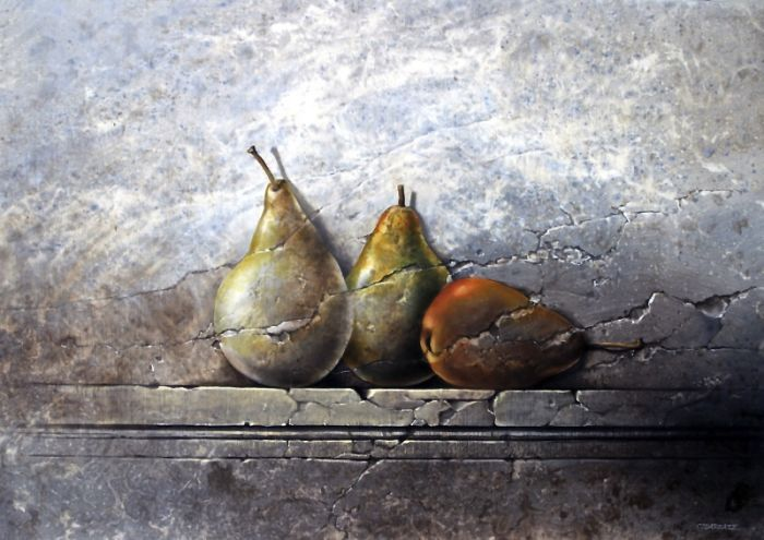 THREE FOSSIL PEARS